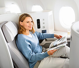 Mukavuus, joustavuus ja korkealaatuinen palvelu Finnairin businessluokassa